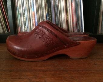 Vintage 1970s Womens THOM MCAN Wooden Wedge Heel Brazilian Leather Platform SHOES Size 8 8.5 Boho Mod Hippie
