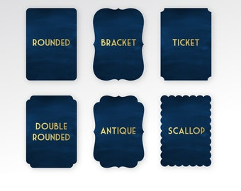 Die Cuts for ANY Card . Add-on to any Order with Printing . Rounded Edge Cut . Scallop edge Ticket shaped card Bracket shape Antique