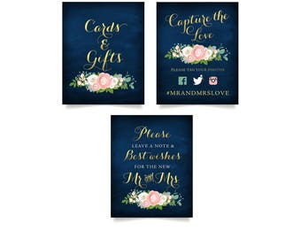 The JENNY . 3 Table Sign Set Printed . Cards & Gifts . Hashtag Photo Booth . Guestbook Sign . Gold Calligraphy Navy White Rose Pink Peony