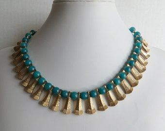 Necklace Blue and Gold 17 Inch