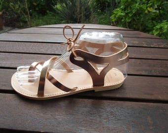 Hand Made Greek Leather Sandal (Bronze, Brown Colour)