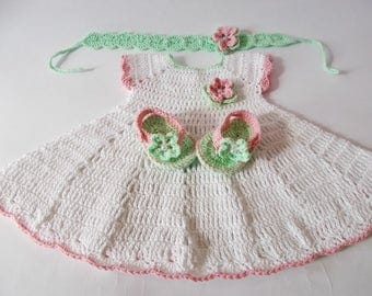 Crochet Baby Dress flip flops headband set, Newborn dresses, white green pink baby dress, baby headband dresses set, Baby dress, Baby shower