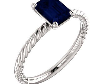 1.25 Carat Blue Sapphire Designer Rope Style Ring in 14K White Gold