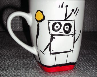 Chibi, The Robot, Coffee Mug; Handpainted and Personalized