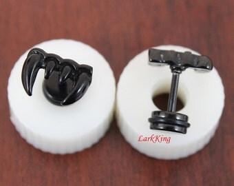 Teeth stud earrings; black stud earrings; black earrings; funky earrings; statement earrings; unique studs; earrings for men;  SE3015