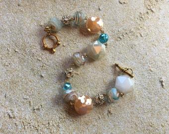 Ivory Statement Bracelet, Glass Bead Bracelet, Beadwork Bracelet, Beaded Bracelet, Beaded Jewelry, Beaded Jewelry, Womens Jewelry