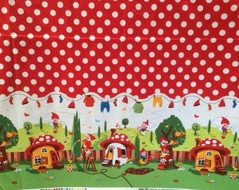 1.5 Yds Gnomeville Fabric by Michael Miller -Big Border Print Polka Dot -Gnomes -Children's Room Decor - Large Scale Print - Red White Green