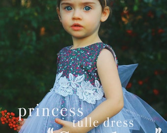 Pretty Scarlett Tulle Floral Dress , baby spring dress, baby summer dress, tulle dress, 12m, 24m, 2T, 6-9m