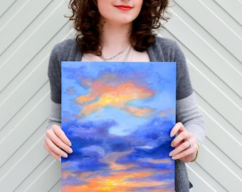 ORIGINAL OIL PAINTING Abstract Colourful Sunrise Sky