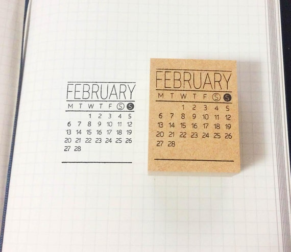 Calendar Stamp Bullet Journal : Items similar to calendar stamp mini