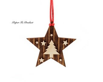 Star Christmas Tree Ornament Christmas Holidays Custom Laser Cut & Engraved Wood