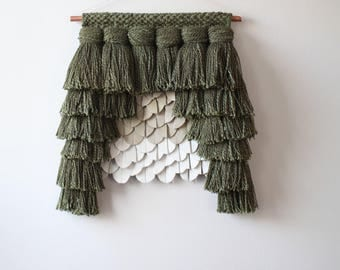 Handwoven Scultpural Wall Hanging - Mixed Media - Leather and Fiber - Green Ivory and Cream