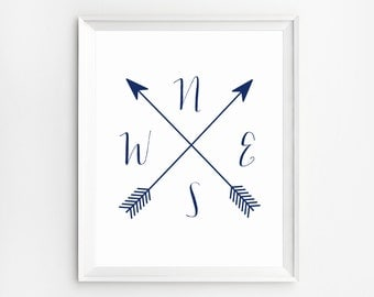 Compass Wall Art Printable, Navy Print, Cardinal Directions, Cardinal Directions Art, Wall Art Prints, Arrow Compass, NWES Prints