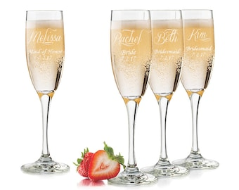 Personalized Wedding Glasses, Set of 5, Engraved Bridesmaid Glasses, Maid of Honor Wedding Glasses, Bridesmaid Wine Glass, Bridesmaid Flutes
