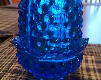 fenton 4 1/2 inch tall  blue fairy lamp