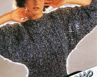 "vintage ladies super chunky dolman sweater knitting pattern pdf super bulky womens batwing jumper 30-38"" super chunky super bulky Download"