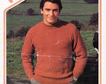 "Vintage mens sweater knitting pattern PDF DK mens jumper patterned crew neck 36-44"" DK light worsted 8ply mens knitting pattern download"