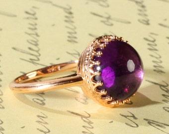 14K Rose Gold 12MM 6.84 Carat Round Brazilian Amethyst Cabochon Ring, Regal Crown Design, Engagement or Birthstone Ring