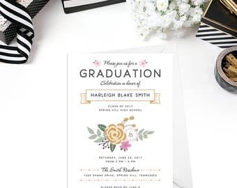 Graduation Party Invitation, 5x7 Custom Invite with White Envelopes Included, Printed OR Digital