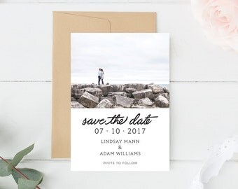 Save the Date Printable, Custom Photo Save the Date, Save The Date, Wedding Save The Date, Save The Date Card