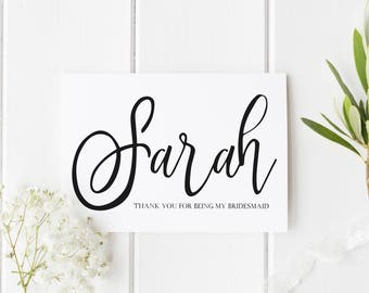 Simple Bridesmaid Card, Thank You For Being My Bridesmaid, Thank You Maid of Honour, Card For Flower Girl, Name Bridesmaid Thank You Card