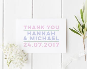 Mr & Mrs Wedding Card, Personalised Thank You Card, Modern Mr And Mrs Wedding Card, Modern Mr And Mrs Card, Wedding Thank You Card