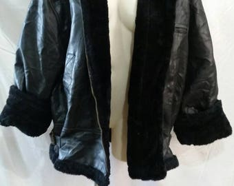 Vintage faux fur and pleather oversized jacket