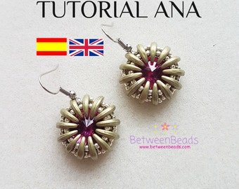 Tutorial Pattern Beadwork, Schema Beadweaving Earrings, Jewelry, Spanish and English, Crescent Beads Rivoli, Seed Beads Schema Module Ana