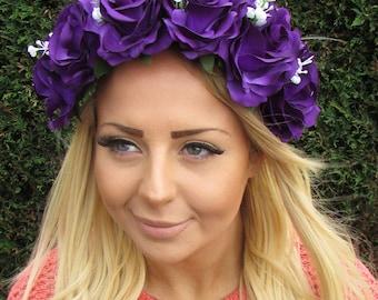 Large Purple White Baby's Breath Gypsophila Rose Flower Garland Headband 1960