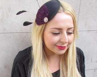 Black Purple Gold Silver Statement Feather Fascinator Hair Clip Hat Races 2441