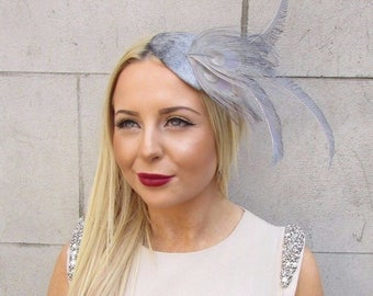 Grey Feather Fascinator Headpiece Headband Hair Band Hat Races Ascot Silver 2515
