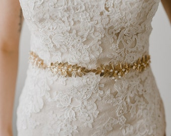 Gold Leaf Bridal Belt | Gold Leaves Wedding Belt | Gold Leaf and Pearl Sash Belt | Pearl and Leaf Sash | Gold Meadow Sash