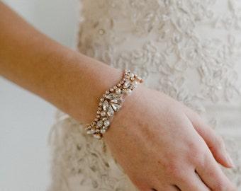 Rose Gold Bridal Cuff | Wedding Bracelet | Rose Gold Pearl Bracelet | Blush Bridal Bracelet | Wedding Cuff | Rose Gold Adelaide Cuff