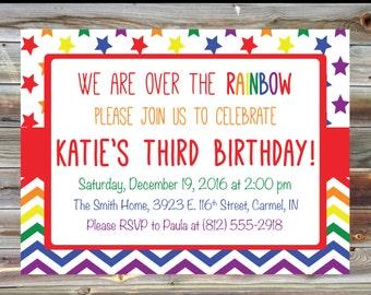 Rainbow Kids Birthday Invitation - Digital Custom Rainbow Chevron Birthday Invitation - Rainbow Bday Party Invite - Rainbow Theme Birthday