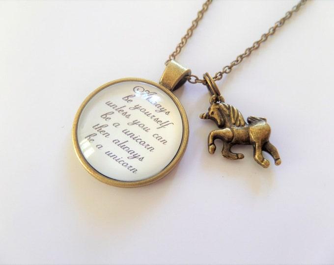 always be a unicorn, unicorn necklace, unicorn jewellery, glass dome, photo image, unicorn jewelery, unicorn gift, glass necklace