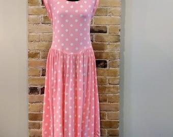 Vintage 1980's Pink With White Polka Dot 100% Cotton Drop Waist Summer Sundress Dress
