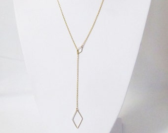 dainty lariat necklace gold, lariet necklace, geometric necklace, triangle necklace , long necklace, minimalist necklace, minimalist jewelry
