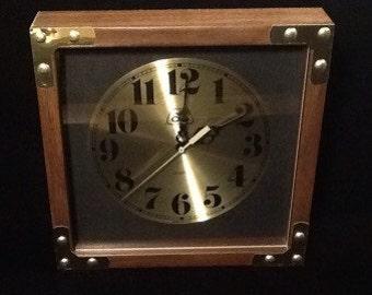 "Retro Brown & Gold Tone Square 11"" Quartz Wall Clock Battery Operated Vintage"