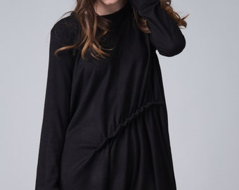 Black langelook dress / Long sleeved flounce dress / A line black woman's dress / Oversized black long dress / Fasada 16149