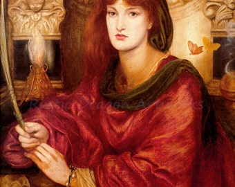 "Dante Rossetti ""Venus Palmifera Soul's Beauty"" 1870 Reproduction Digital Print Symbols Love, Fate, Death Ancient Prophetess The Sibyl"