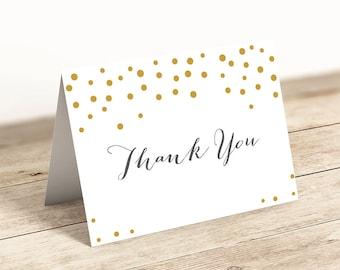 Thank you card gold dots printable 5x3.5, printable thank you note, download | Orlando | printable PDFs