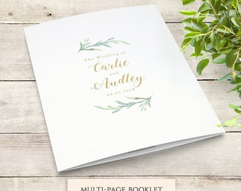 Greenery booklet wedding program template, booklet order of service | printable wedding program template - DIY wedding programs