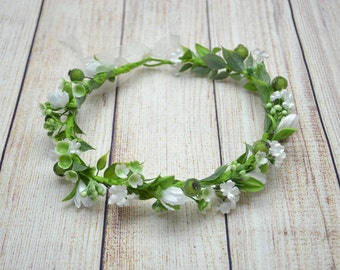 Wedding flower crown Bridal flower crown White flower crown Wedding hair wreath Wedding halo Bridal halo Bridal rustic wreath Wedding wreath