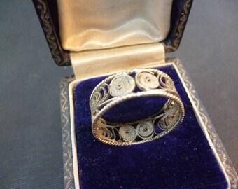 Vintage filigree silver ring - 925 - sterling silver - unique - UK R - US