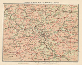 1938 Paris France Vintage Map