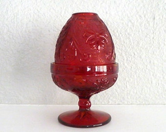 Vintage Red Glass Fairy Lamp