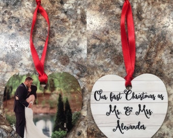 Our First Christmas Ornament / First Christmas as Mr. and Mrs. / First Christmas as Husband and Wife / Photo Ornament