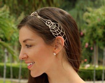Stacie Art Deco Bridal Headpiece - Bridal Hair Piece - Bridal Headband - Wedding Hair Piece - Gold Crystal Headpiece - Rhinestone Headpiece