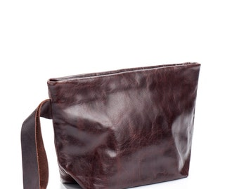 brown clutch - brown Leather clutch purse - wristlet leather clutch bag - wristlet purse - wristlet clutch - zipper clutch - KISSL