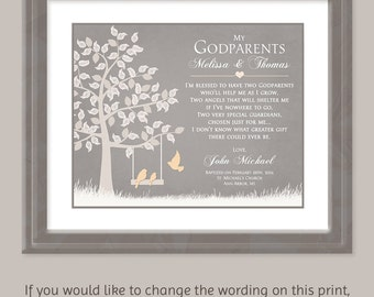 Godparents Gift - Gift For Godparents Personalized Godparents Gift   Baptism Gift For Godparents  Card For Godparents - Godparents Thank You